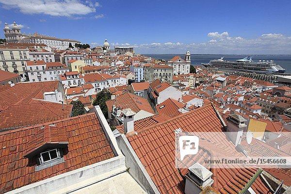 Portugal  Lisbon  Alfama  skyline  general view  panorama .