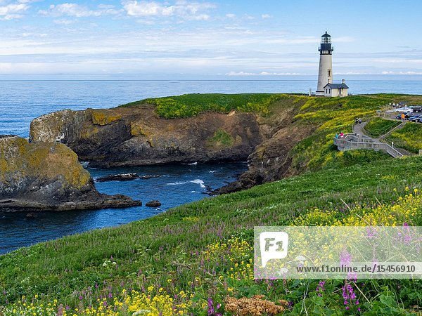 The Yaquina lighthouse  also known as the Foulweather Lighthouse  was built in the 19th Century  to guide mariners off the rugged coast of Oregon.