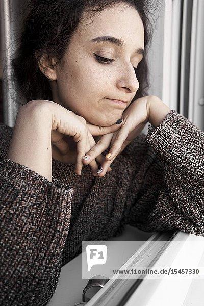 Young regretful woman regretting