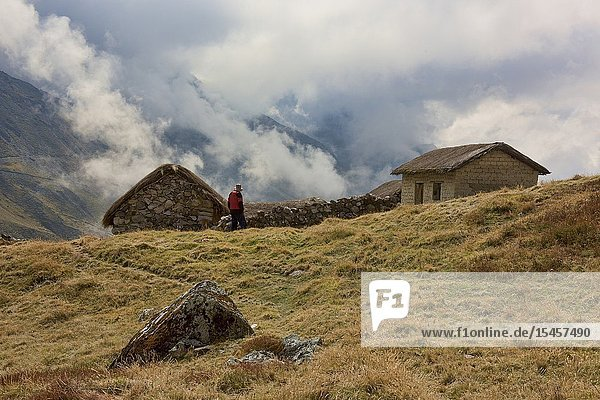 Traditional stone hut in the high Andes along the Cordillera Real Traverse  Bolivia.
