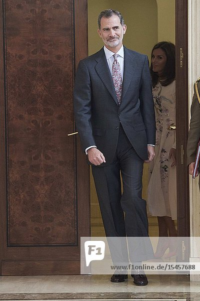 King Felipe VI of Spain attends Audience to the executive committee of the Alliance for Dual Vocational Training at Zarzuela Palace on July 8  2019 in Madrid  Spain