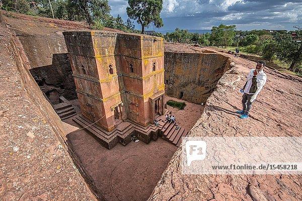 Rock hewn monolithic church of Bet Giyorgis (Church of St. George) in Lalibela   Ethiopia.