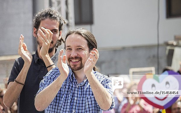 Las Palmas  Gran Canaria  Canary Islands  Spain. 13th April 2019. Pablo Iglesias   leader of Podemos party  campaigns in Las Palmas  the capital of Gran Canaria . ahead of the general election in Spain on 28th April 2019.