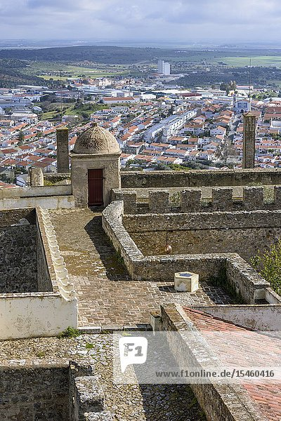 The Castle walls overlooking the city of Elvas  Garrison Border Town of Elvas and its Fortifications  Portalegre District  Alentejo Region  Portugal  Europe.