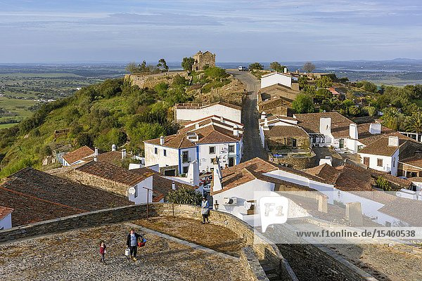 Monsaraz village with Sao Bento Chapel or Ermida de Sao Bento  Reguengos de Monsaraz Municipality  Evora District  Alentejo Region  Portugal  Europe.