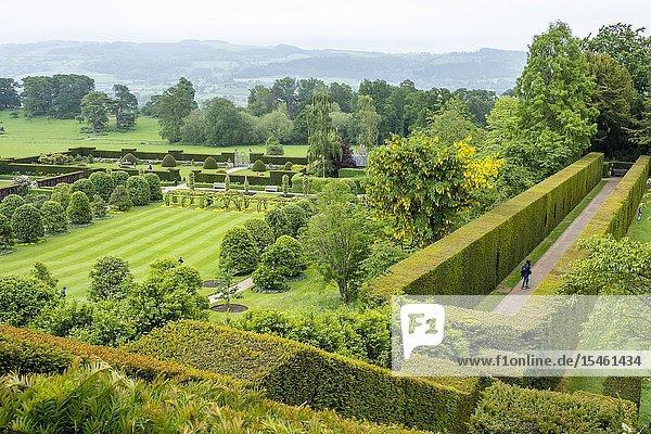 Garden of Powis castle  Wales.