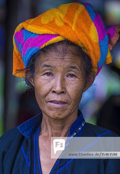 Portrait of Pao tribe woman in Shan state Myanmar.