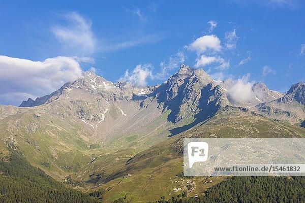 The rocky peaks Pizzi Dei Piani and Pizzo Ferrè  Spluga Valley  Chiavenna Valley  Sondrio province  Valtellina  Lombardy  Italy.