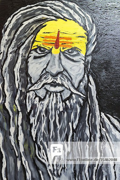 Painting representing a sadhu  For Editorial Use Only  Allahabad Kumbh Mela  World's largest religious gathering  Uttar Pradesh  India.