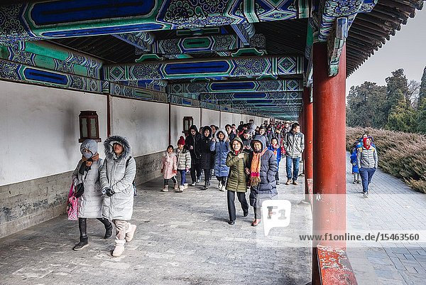 Tourists in Temple of Heaven park in Beijing  China.