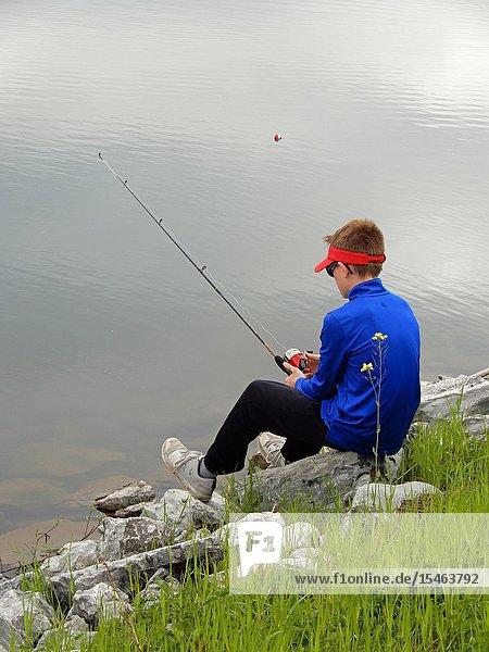 7th Grade Boy Fishing  Allegany State Park  Salamanca  New York  USA.