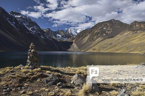 View of Cabeza del Condor and Laguna Juri Khota on the Cordillera Real Traverse  Bolivia.