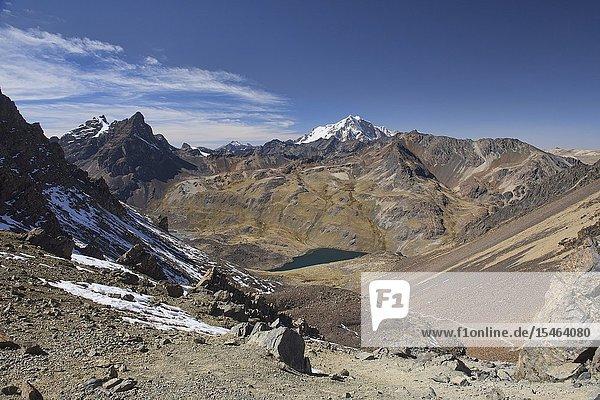 Descending from Pico Austria on the Cordillera Real Traverse  Bolivia.