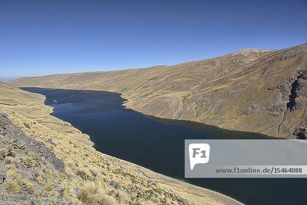 View of Lake Khara Khota (Q'ara Quta) along the Cordillera Real Traverse  Bolivia.