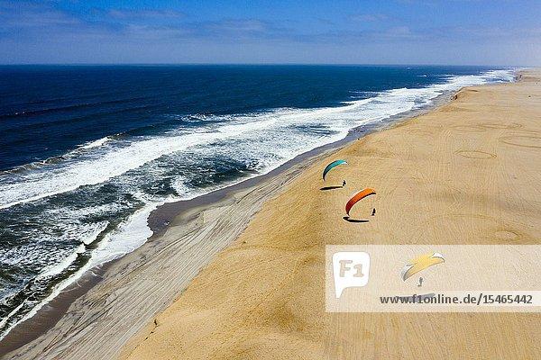 Paragliding at Dune near Henties Bay  Henties Bay  Namibia.