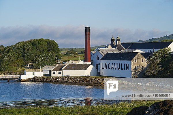 View of Lagavulin Distillery on island of Islay in Inner Hebrides of Scotland  UK.