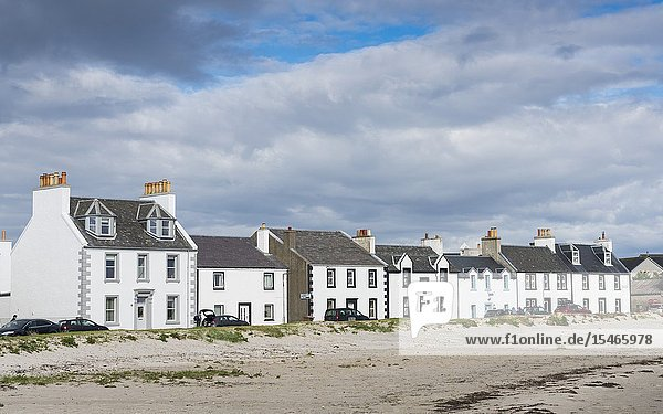 View of whitewashed houses at Port Ellen on Islay in Inner Hebrides   Scotland  UK.