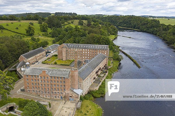 Aerial view of historic preserved Stanley Mills former cotton mills factory situated next to River Tay in Stanley  Perthshire  Scotland  UK.