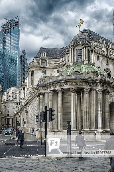 England  City of London-The Bank Of England building in the Financial district.