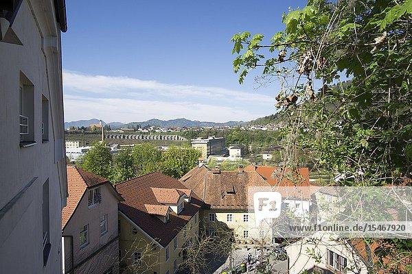 Kranj in Slovenia on April 21  2019: Medieval architecture old city.