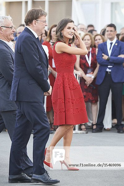 Queen Letizia of Spain attends Presentation of the World Center of Valencia for the Sustainable Urban Feeding (CEMAS) at La Base on July 22  2019 in Valencia  Spain