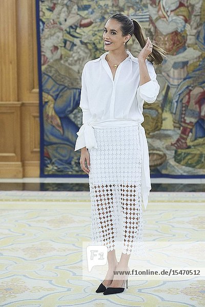 Ona Carbonnel before an audience with Spanish Royals at Zarzuela Palace on July 23  2019 in Madrid  Spain