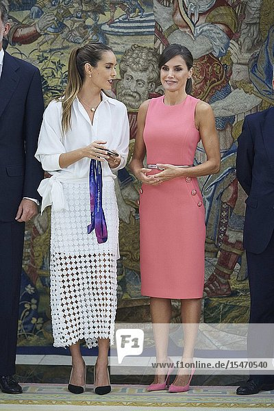 Queen Letizia of Spain  Ona Carbonnel during an audience at Zarzuela Palace on July 23  2019 in Madrid  Spain