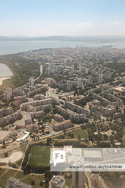 Aerial View of the city of Burgas of the living quarters and the Port of Burgas at the distance Bourgas Bulgaria.