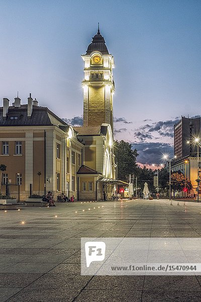 Bulgaria  Burgas. The Central Rail way station building in Burgas  designed in Art Nouveau Architectural style at night.