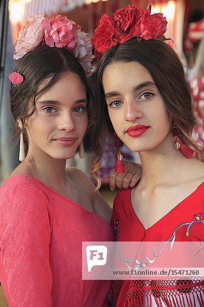 Spain  Andalusia  Seville  Feria  fair  festival  young women  girls .