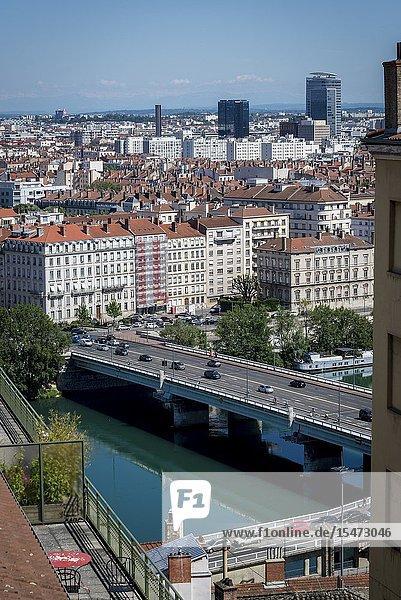 View of the city centre from La Croix-Rousse district  Lyon  France.