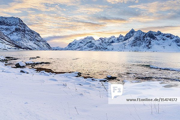 Vareidsundet  Vareid  Flakstadøya  Lofoten  Nordland  Norway  Europe.