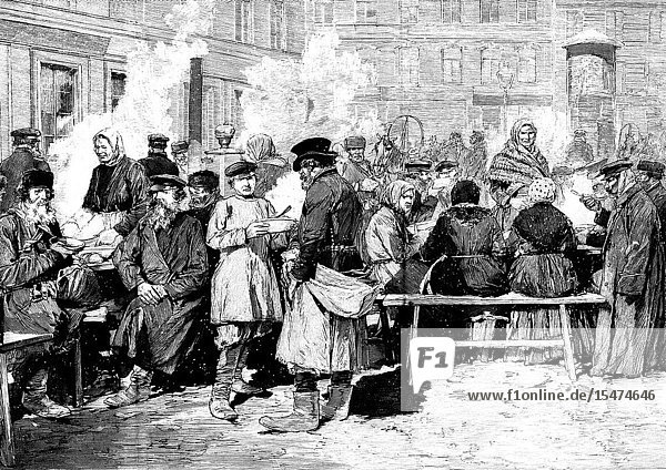 Open air kitchen in Moscow  XIX century  those kitchens serves cakes and cranberries  Baikal fish zelivnoe or suguday traditional fish  russian food 1869