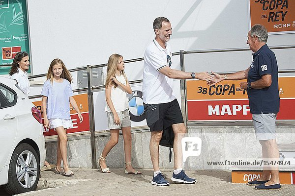King Felipe VI of Spain  Queen Letizia of Spain  Crown Princess Leonor  Princess Sofia is seen at Real Club Nautico during 38th Copa del Rey Mapfre Sailing Cup - Day 4 on August 1  2019 in Palma  Spain