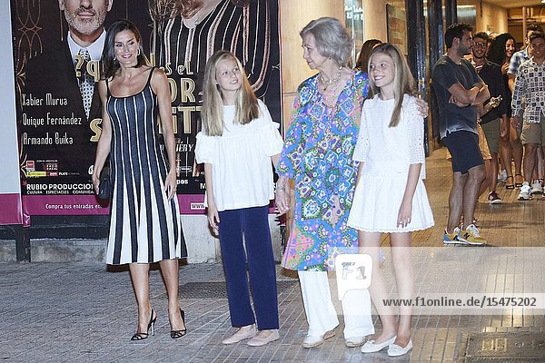 Queen Letizia of Spain  Crown Princess Leonor  The former Queen Sofia  Princess Sofia attends El lago de los cisnes (Swan Lake) at Auditorium on August 3  2019 in Palma  Spain