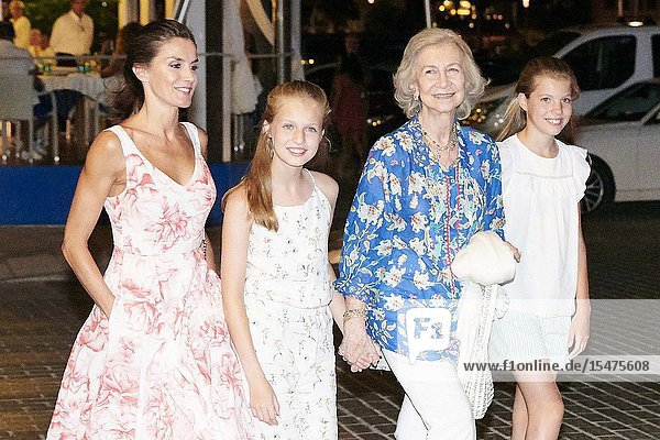 Queen Letizia of Spain  Crown Princess Leonor  The former Queen Sofia  Princess Sofia leave Ola de Mar restaurant after dinner on August 4  2019 in Palma  Spain