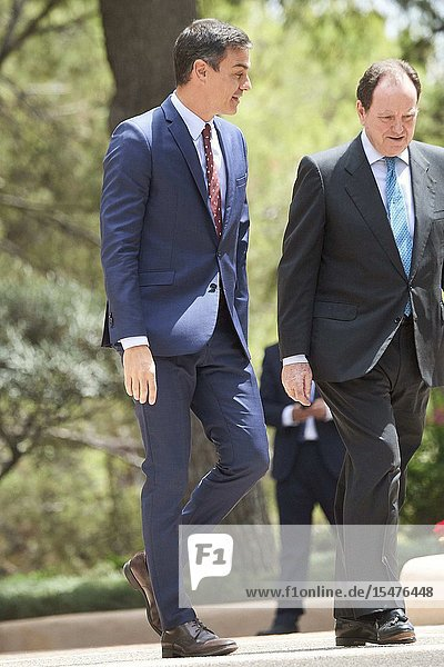 Pedro Sanchez  Prime Minister arrives to Marivent Palace before a meeting with King Felipe VI of Spain on August 7  2019 in Palma  Spain