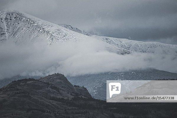 Snow falls in the mountains. Yukon Territory  Canada.