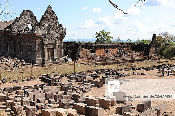 Laos: The historic Khmer temples ruins and ornaments of What Phou at the Mekong River belong to the Unesco World Heritages.