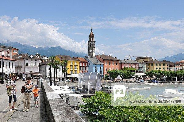 South Switzerland: The lake promenade in Ascon City on canton Ticino.