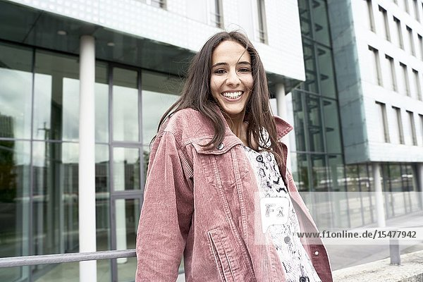 Happy woman in city