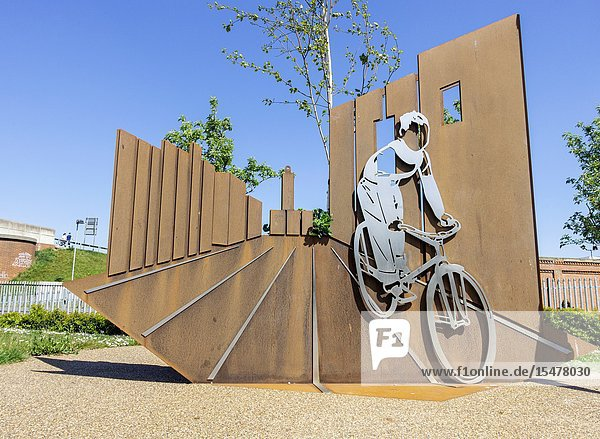 Boy and Bicycle sculpture in Hartlepool  England  United Kingdom. A tribute to Ridley Scottâ.s first film â. œBoy and Bicycleâ.(1965) which was filmed in Hartlepool  where he studied at the local college. â.Boy and Bicycleâ.originates from a still from Ridley Scottâ.s first short film  Boy and Bicycle (1965). The film was shot in black and white on location in Hartlepool  starring his brother Tony Scott  where in the captured still  he cycles along Church Street. Tony Scott passed away in 2012 and the sculpture is dedicated to his memory. The film was the inspiration for the Hovis boy on a bike tv advert  directed by Ridley Scott.