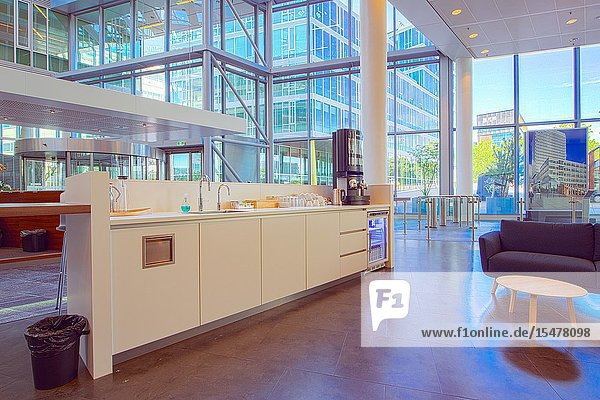 Eindhoven  Netherlands. Interior of the Kennedy Tower Corporate Building and reception Area.