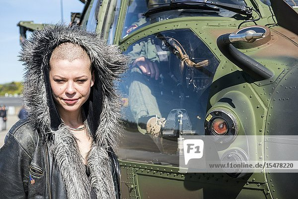 Gilze-Rijen  Netherlands. Liberation Festival 2016. Artist and Ambassador for Freedom  Sharon Kovacs  preparing to be airlifted from the Dutch Airforce Airbase by a Cougar helicopter  to perform her act during May 5th Liberation Day Festivals.