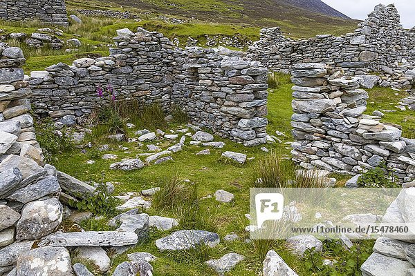 Ruins of the deserted Village at Slievemore on Achill Island in County Mayo Ireland.