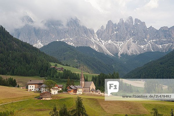 St. Magdalena  Villnoess  Trentino-Alto  South Tyrol  Italy  Europe - The Nature Park of the Villnoess Valley with Dolomite mountains of the Puez Geisler Group.
