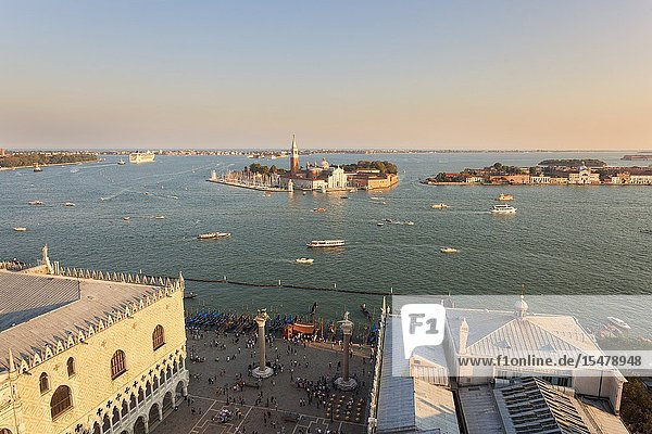 St. Mark's Square and St' Georges island seen from the top of St. Mark's Campanile  Venice  Veneto  Italy.