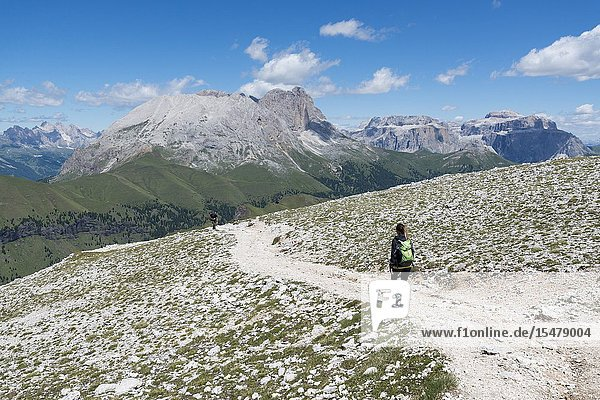 Italy  dolomites  Trentino South Tyrol  fassa valley  Hiker on his way to the Dona Val from the Antermoia refuge.