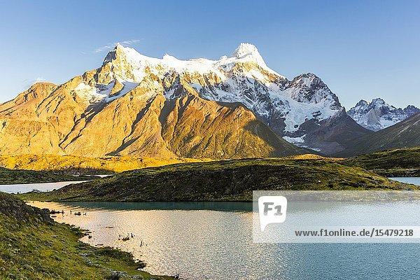 Chile  Patagonia  Magallanes and the Chilean region of Antarctica  Ultima Esperanza provinces  Torres del Paine National Park  Cerro Paine Grande and Nordenskjöld Lake at dawn.