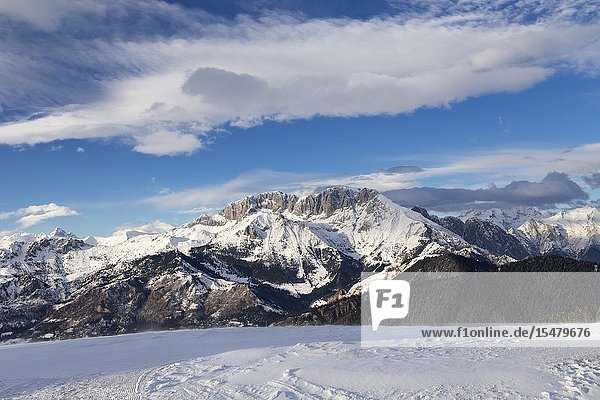 View of the Presolana during a winter day from Monte Pora  Val Seriana  Bergamo district  Lombardy  Italy.